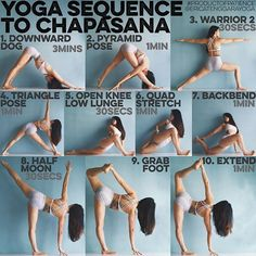 YOGA SEQUENCE TO CHAPASANA: Warm up: Sun Salutation A B 5x each, Google if unsure 1. DOWNWARD DOG I start most of my sequences with it because everything starts from your foundation, I find there is a correlation to down dog with every pose hence its importance - 2. PARSVOTANASA Work on getting both legs straight with hips squared before bringing your belly over the thigh, the back heel up is not traditional but just a nice variation I find - 3. WARRIOR 2 Do this with your back agains...