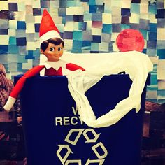 Uh oh - along with a very decorative backdrop looks like our #elfonashelf found something that doesn't belong in a recycling container. Plastic bags should be recycled at a grocery or retail store - not in curbside recycling bin. Don't get caught...#RORR #recycle #green #holidays