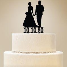 Silhouette Bride & Groom Custom Wedding Cake Topper