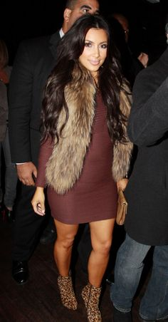 Kim Kardashian Style - Fur vest, long sleeved bodycon dress, don't know about the shoes though