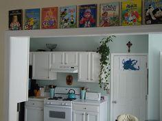 Display books on ledge.