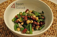 4 Bean Salad Recipe Salads, Side Dishes with green beans, beans, garbanzo, pinto beans, chopped parsley, purple onion, olive oil, apple cider vinegar, cane sugar, salt, black pepper