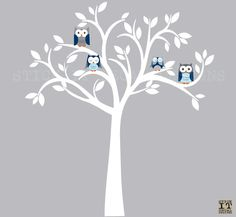 Owl decal Owl tree wall sticker Blue Owl by StickItDecalDesigns, $88.00