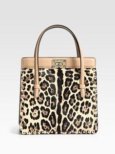 Valentino  Leo Cavalino Studded Calf Hair & Leather Top Handle Bag