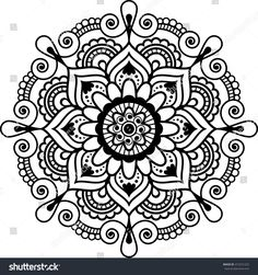 Illustration about Mehndi Indian floral henna element mandala for tatoo or card. Vector illustration on white background. Illustration of asian, illustration, detailed - 72962033 Mandalas Painting, Mandalas Drawing, Mandala Coloring Pages, Adult Coloring Pages, Zentangles, Henna Doodle, Mandala Doodle, Henna Art, Henna Designs On Paper