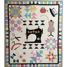 Spooling Around the Block - Vintage Bom. www.thegentlemanpirate.com . . . Written for ease of use as a 12 month Block of the Month, this sewing themed pattern is also an easy Fat Quarter pattern  #tgpiratequilting