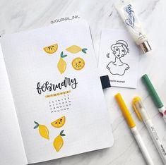 Bujo Inspo 💕 sur Instagram: Cute lemon 🍋 cover page by @journal_ink_ - - - Follow @bullet_journallingg for more! - - - #februarybulletjournal #bujoideas #bujo…