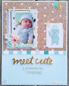 Meet Cute by Maja_Tyler at Kids Scrapbook, Scrapbook Page Layouts, Scrapbook Cards, Baby Boy Or Girl, Baby Kids, Man Cub, Crate Paper, Studio Calico, Dream Big