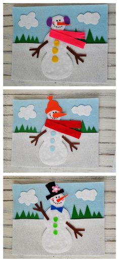 Who doesn't love cute snowman crafts? Snowman crafts are popular because they are easy to make your own. A felt board is a great way to engage little ones. Christmas Crafts For Kids, Winter Christmas, Felt Crafts, Kids Christmas, Holiday Crafts, Felt Snowman, Snowman Crafts, Snowmen, Winter Fun