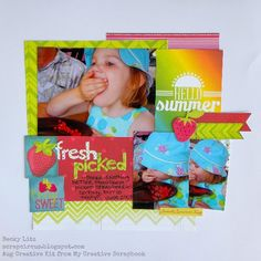 My Creative Scrapbook August Creative kit designed by Becky Litz. Image Layout, Sketch Design, Bunny, Paper Crafts, Kit, Creative, Frame, Layouts, Projects