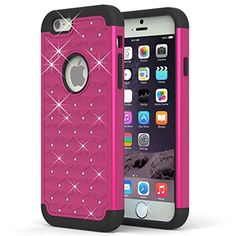 Iphone 6 Case, Newplus(tm) [Shockproof] Apple Iphone 6 Case Heavy Duty Armor Defender Case Shock Absorbing Hybrid Stud Rhinestone Bling Dual Layer Protection Cover for Apple Iphone 6 (4.7) - (Hot Pink)