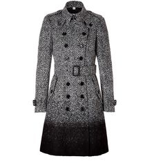 BURBERRY LONDON Wool-Blend Callcott Coat in Black Check ($1,498) ❤ liked on Polyvore featuring outerwear, coats, jackets, coats & jackets, checked coat, double-breasted trench coat, burberry, slim coat and checkered coat