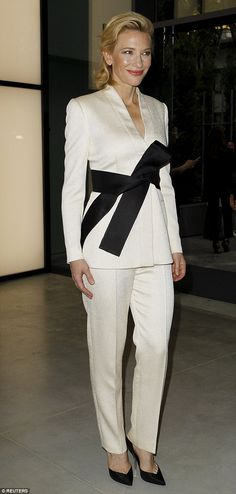 Cate Blanchett cuts a tailored figure in a white suit at Armani event #dailymail