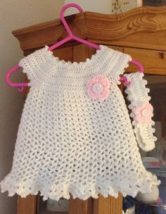 """Baby girls little Sweetie crochet dress and matching headband , tutorial can be found on youtube The Crochet Crowd , """"Little Sweetie Dress"""""""
