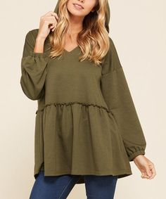 046f48d066 Annabelle USA French Terry Hooded Bishop Sleeve Peplum Top - Women