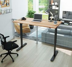 Outfit your office with the Bestar Electric Height Adjustable Desk with Solid Wood Top for a versatile workstation that suits your every whim. The tabletop. Adjustable Height Table, Adjustable Desk, Retro Furniture, Home Office Furniture, Ikea Furniture, Furniture Sale, Tabletop, Wood Trellis, Small Workspace