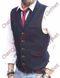MENS NAVY BLUE LAPEL COLLAR WAISTCOAT SLIM FIT VEST GILET - ALL SIZES