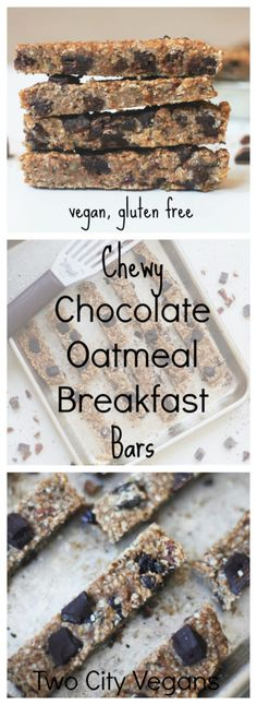 These Chewy Chocolate Oatmeal Breakfast Bars are vegan, gluten free and oh so delicious. Make a batch and keep them for the week!