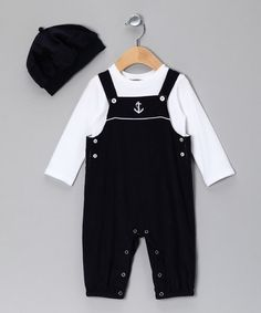 Take a look at this Navy Sailor Overalls Set - Infant by Petit Confection on #zulily today!