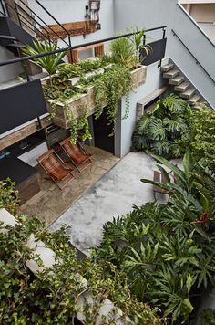 This Slender Concrete Home in Brazil Feels Like an Urban Jungle - Photo 5 of 13 - An outdoor kitchen in the lush, backyard garden aids in entertaining.