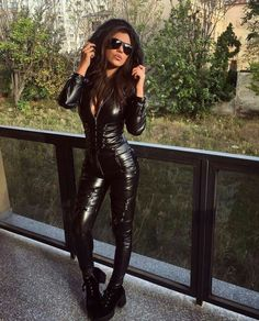 Foxy Lady in a faux Leather Catsuit with lace up Details Sexy Outfits, Club Outfits, Fashion Outfits, Pvc Fashion, Latex Fashion, Leather Jumpsuit, Leder Outfits, Sexy Latex, Looks Cool