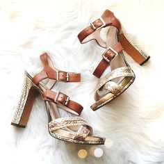 Vince Camuto Metallic Strappy Embossed Heels So chic and perfect for any season! Very excellent pre worn condition. No major flaws. As seen on Heidi Klum. No trades!! 02151610gwpg Vince Camuto Shoes Heels