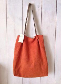 SHOULDER BAG - orange linen