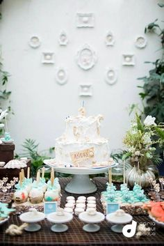 Under the Sea themed birthday party with Lots of Really Cute Ideas via Kara's Party Ideas   Cake, decor, cupcakes, favors, printables, and M...
