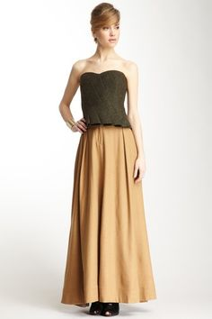 bustier with long, full skirt- love this look!