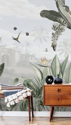 Palm Leaf Wallpaper, Tropical Wallpaper, Green Wallpaper, Kids Wallpaper, Peel And Stick Wallpaper, Photo Wallpaper, Wall Wallpaper, Nordic Living, Room Accessories