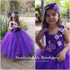 Purple flower girl tutu dress wedding dress Glittery V shaped