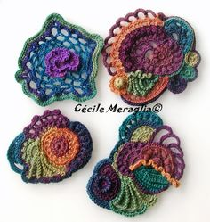 Adventures Textiles Great color for these free form crochet circles.
