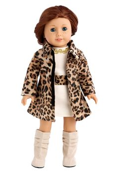 Amazon.com: Fashion Girl - Cheetah Coat, Ivory Dress and Ivory Boots - 18 Inch American Girl Doll Clothes: Toys & Games