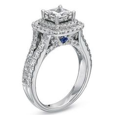 Vera Wang LOVE Collection 2-1/4 CT. T.W. Princess-Cut Diamond Frame Split Shank Engagement Ring in 14K White Gold - View All Rings - Zales