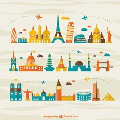 Viagens aéreas marco turismo vetor Vetor grátis
