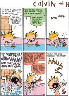 Calvin and Hobbes, Saturday Splitz! The Bath (1 of 2 DA) - The wind is picking up again! Hang on! We're flying right out of the water! ... Uh oh! The wind suddenly stopped!  AAAAAAAAAAAAAAAA!