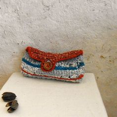 Recycled fabrics purse in red and blue with por MammaEarthCreations
