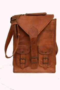 "13"" Classic Original Handmade Leather Bag, Unisex Office Bags Goat Leather #159 #Handmade #Backpack"