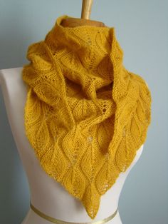 Candle Flame Shawl, use google translate if you don't know french. This is done use sport-weight yarn & not bulky like the pattern calls for.