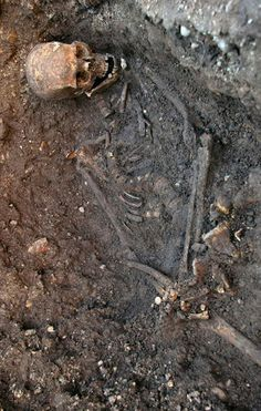 "The remains of King Richard III found underneath a car park , at the Grey Friars excavation in Leicester, which have been declared ""beyond reasonable doubt"" to be the long lost remains of England's King Richard III, missing for 500 years."