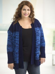 Curvy Girl Subtle Texture Cardigan from Lionbrand Knit flat, back, RF & LF, sleeves, bands for each front piece, nice sizing