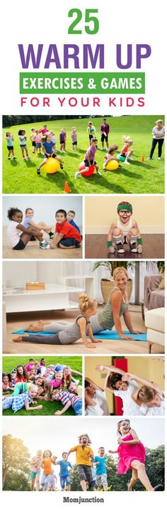 Top 25 Warm Up Exercises & Games For Kids Before your child hits the field, you should encourage him to warm up. Here's is our list of warm up exercises for kids. Few games are also listed. Warm Up For Kids, Yoga For Kids, Exercise For Kids, Kid Exercise Games, Physical Exercise, Dance Games, Gym Games, Camping Games, Pe Activities