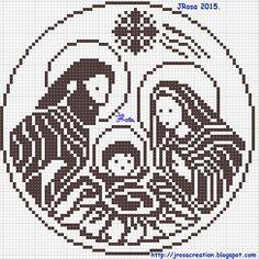 Nativity scene filet crochet pattern , Schema uncinetto a filet : Presepe