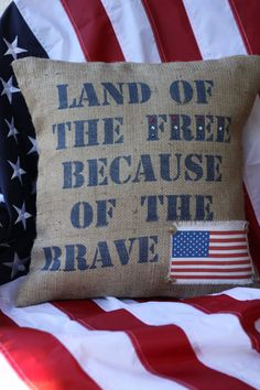 Land of the Free FLAG Pillow Cover in Blue by MonMellDesigns, $42.00