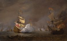 """Willem van de Velde the Younger, """"Sea Battle of the Anglo-Dutch Wars,"""" ca. oil on canvas, Yale Center for British Art, Paul Mellon Collection — at Yale Center for British Art. Fine Art Prints, Framed Prints, Poster Prints, Canvas Prints, Anglo Dutch Wars, Ship Paintings, Art Google, Oil On Canvas, Original Artwork"""