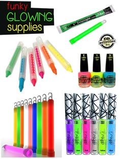 Glowing supplies: Neon face crayons, glow in the dark nail polish, glow sticks, duct tape and rainbow sticks. Glow In Dark Party, Glow Stick Party, Glow Sticks, Neon Birthday, 13th Birthday Parties, Slumber Parties, Teen Parties, Sleepover Party, 17th Birthday