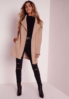 Missguided - Tall Faux Wool Biker Coat Camel