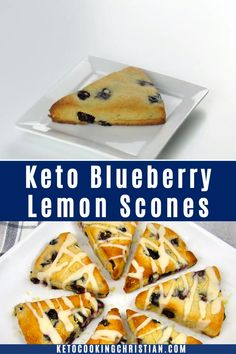These Keto Blueberry Lemon Scones are such a quick and easy treat to make! They are perfect to serve with a cup of coffee or tea for breakfast or brunch. Blueberry Lemon Scones, Keto Blueberry Muffins, Gluten Free Scones, Comida Keto, Keto Dessert Easy, Keto Cake, Keto Cookies, Chip Cookies, Keto Snacks