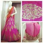 Pink half saree with gold thread work and high neck blouse