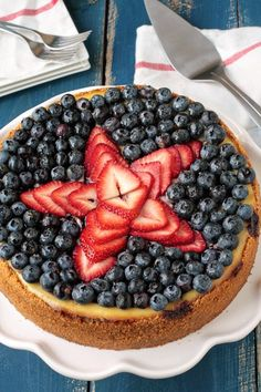 Ricotta Cheesecake recipe topped with fresh berries.